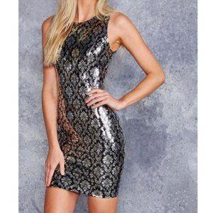 NWT Blackmilk Black and Silver Brocade Bodycon Mini Dress Sleeveless Size M